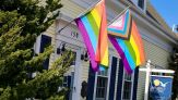 LGBTQIA Pride Flags at the Front of the Property