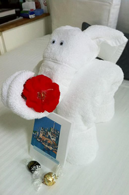 elephant rolled from White towels Holding a red rose in his trunk and truffles on the bed