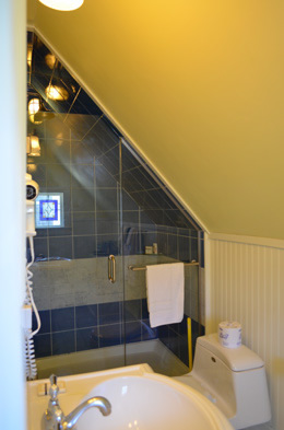 RM 6 Vaulted ceiling in lite gold, blue tile glass enclosed shower. pedestal sink in white