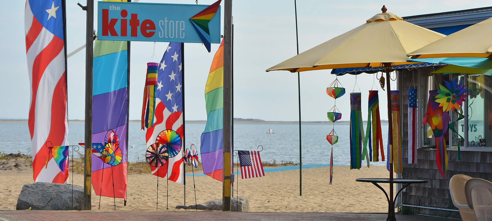 Kite store with American Flag, Rainbow, both in two sizes